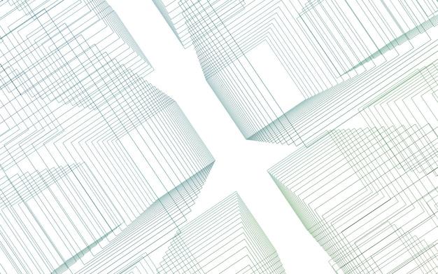 Linha de luz verde conceito abstrato de tecnologia em camadas verticais fundo ilustração 3d