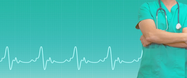 Linha de médico e ecg sobre fundo verde médico. sites médicos com espaço de cópia. banner de cuidados de saúde.