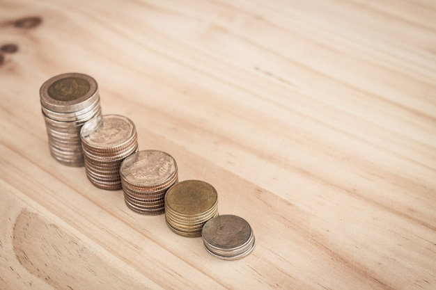 Linha de moeda para o dinheiro de investimento de crescimento de finances