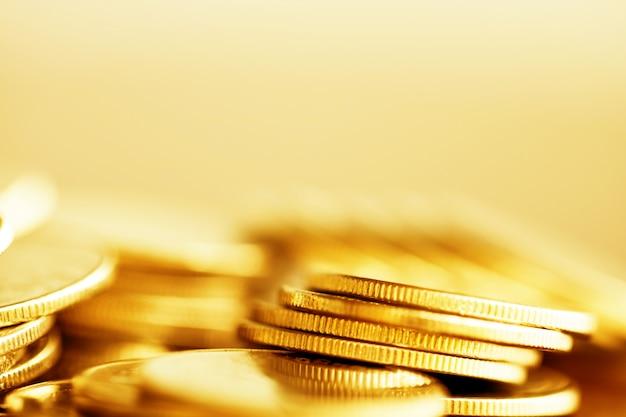 Linha, de, moedas, ligado, madeira, fundo, para, finanças