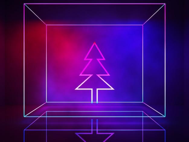 Linha de néon, luzes interiores, árvore de natal, conceito ultravioleta, natal e feliz ano novo
