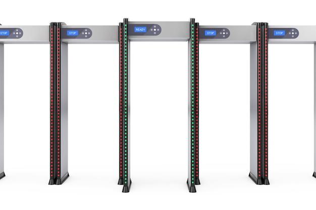 Linha de portões de passo a passo de segurança segura com detectores de metal em um fundo branco. renderização 3d