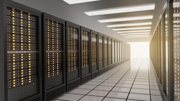 Linha de racks de servidores no data center da sala do servidor de segurança de internet de rede de computadores. imagem da cor do tema azul. imagem de renderização 3d