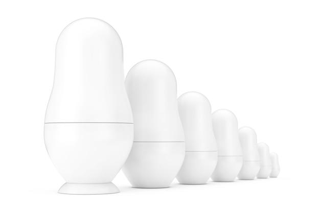 Linha de russo em branco branco matryoshka aninhando maquetes de bonecos no estilo clay em um fundo branco. renderização 3d