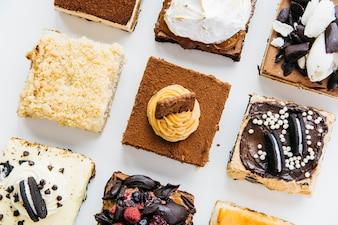 Linha de vários deliciosos doces
