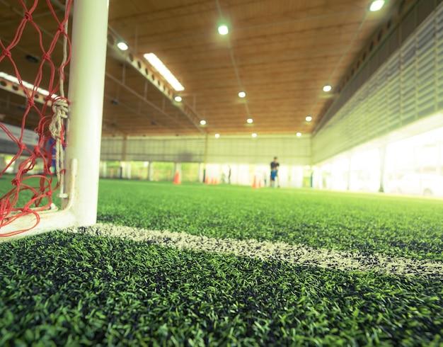 Linha do gol de um campo de treinamento de futebol de futebol indoor