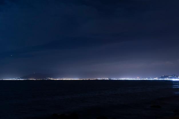 Linha do horizonte entre o céu e o oceano