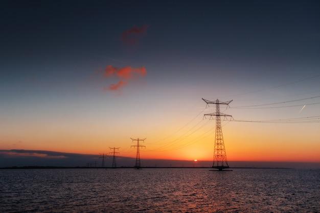 Linha elétrica acima da água durante um pôr do sol fantástico