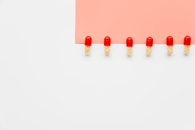 Linha vista superior, de, pílulas