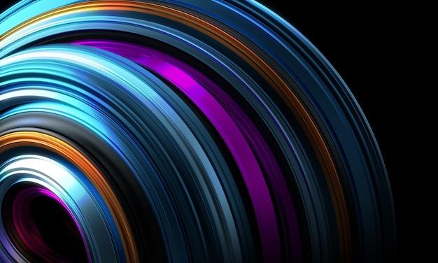 Linhas abstratas coloridas fundo renderização em 3d