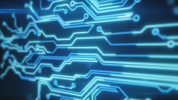 Linhas azuis desenhadas por pontos brilhantes eventualmente criam uma imagem abstrata de uma placa de circuito. pode representar conexões eletrônicas, comunicação, tecnologia futurista. ilustração 3d