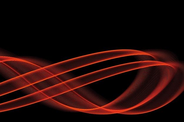 Linhas brilhantes de fogo em fundo preto para design