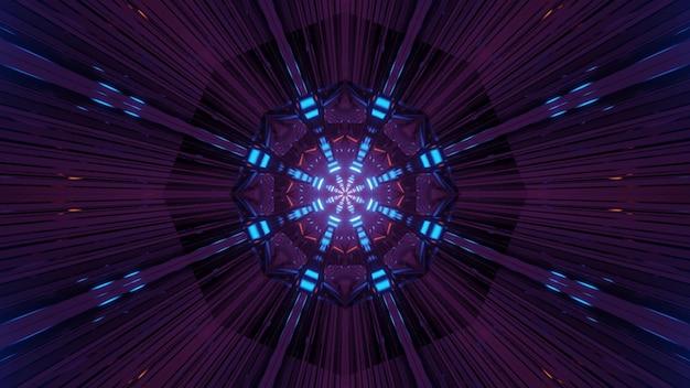 Linhas brilhantes movendo-se do centro do túnel escuro, criando uma ilustração 3d abstrata futurista