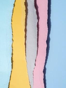 Linhas coloridas de bordas de papel rasgado abstratas