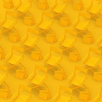 Linhas de cadeiras amarelas do diretor com pranchas e megafones em um fundo amarelo. renderização 3d