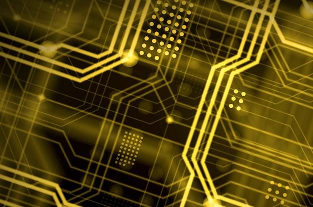 Linhas de circuito preto e amarelo