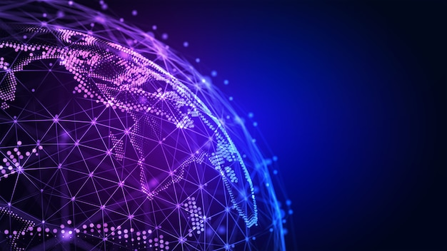 Linhas de conexão ao redor da ilustração 3d do plano de fundo da conectividade internacional global do globo terrestre