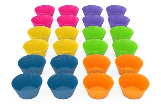 Linhas de copos de silicone cupcake colorido em um fundo branco. renderização 3d