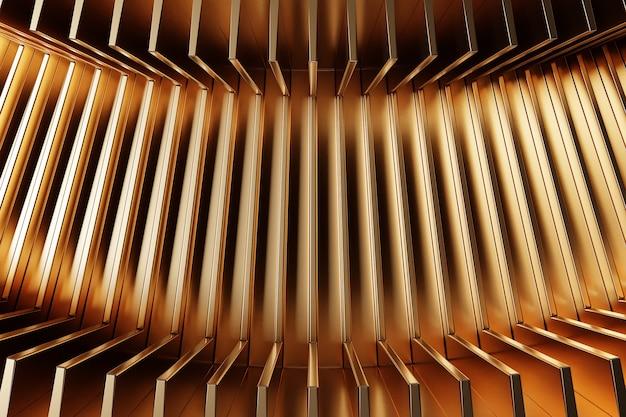 Linhas de ilustração 3d de linha de néon de ouro. padrão em um fundo azul, padrão. fundo geométrico, padrão.