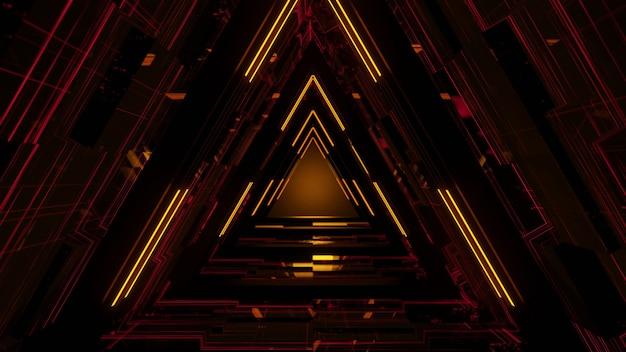 Linhas de laser de néon brilhantes com fundo preto, aparência moderna, foto grátis, renderização em 3d.