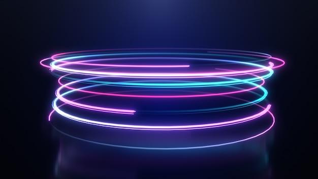 Linhas de listras de luz de neon abstrata movimento fundo