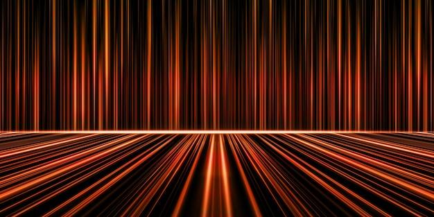 Linhas de luz abstratas brilhando com tecnologia de meteoros ilustração 3d