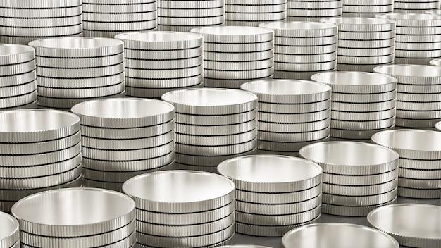 Linhas de moedas de prata de fundo como um degrau