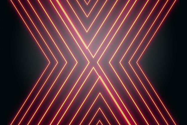 Linhas de neon vermelho na forma da letra x