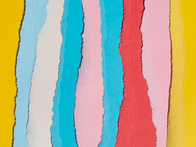 Linhas de papel abstratas rasgadas verticais coloridas