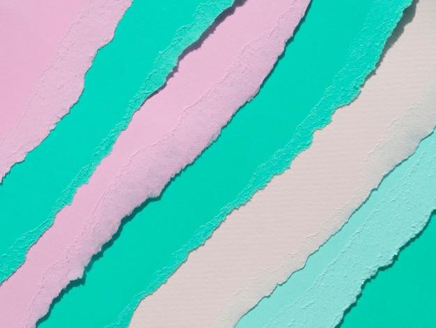 Linhas de papel abstrato rasgado oblíqua rosa e verde