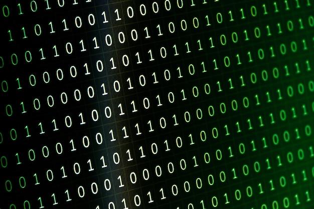 Linhas de tela do computador e colunas de zeros e números binários