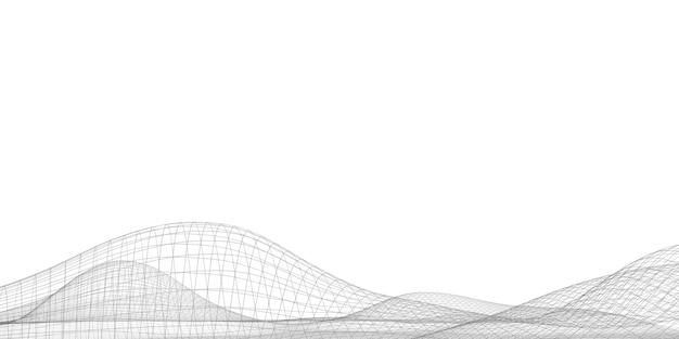 Linhas digitais malha do ciberespaço geométrico abstrato com caminho de corte ilustrado em 3d