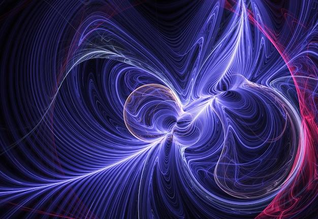 Linhas e curvas abstratas em azul e rosa fractal em fundo preto