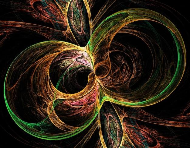 Linhas e curvas redondas abstratas coloridas em fundo preto