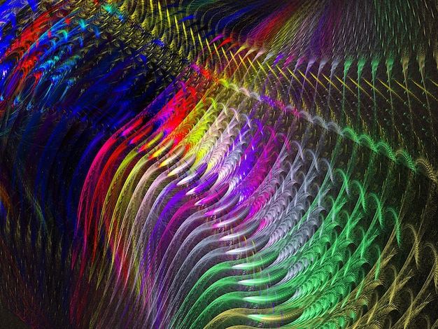 Linhas e curvas redondas abstratas coloridas em fundo preto Foto Premium
