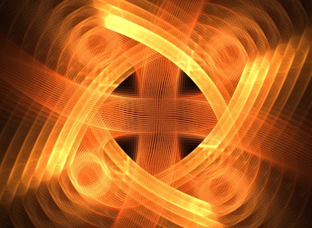 Linhas e curvas redondas abstratas laranja em fundo preto Foto Premium