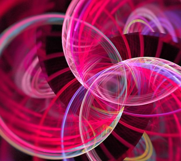 Linhas e curvas redondas abstratas rosa em fundo preto