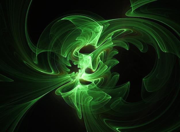 Linhas e curvas redondas abstratas verdes em fundo preto