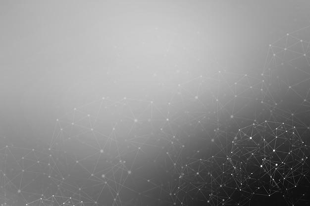 Linhas e pontos como ícones de tecnologia de conexão sem fio em fundo escuro