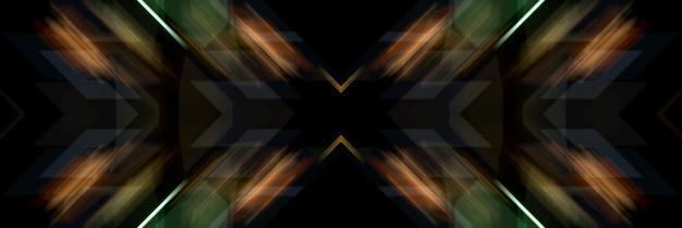 Linhas luminosas de uma cruz oblíqua. fundo futurista abstrato.