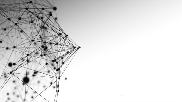 Linhas pretas abstratas, pontos e triângulos no espaço