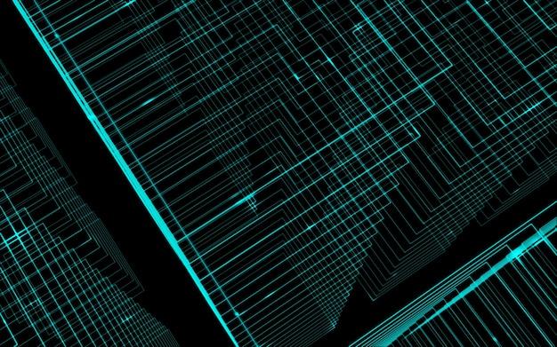 Linhas verdes claras contrastam ilustração de tecnologia abstrata