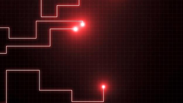 Linhas vermelhas desenhadas por pontos brilhantes. pode representar conexões eletrônicas, comunicação, tecnologia futurista.
