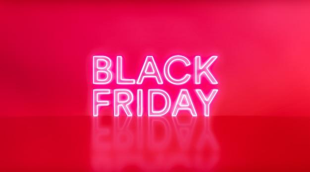 Liquidação da black friday. sinal de néon de sexta-feira negra sobre fundo vermelho do estúdio. texto de néon branco e vermelho brilhante para publicidade e promoção.