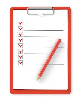 Lista de controle. prancheta vermelha e lápis isolado no branco