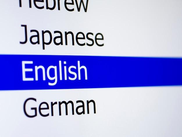 Lista de idiomas no aplicativo móvel
