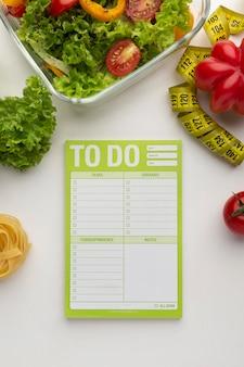 Lista de refeições para fazer e composição dos alimentos