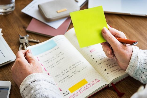 Lista de verificação da nomeação que planeja o conceito pessoal do organizador