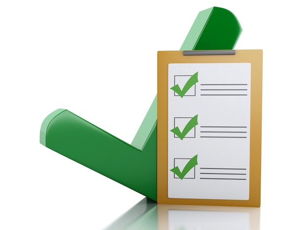 Lista de verificação da prancheta 3d e marca de verificação verde. conceito de sucesso.