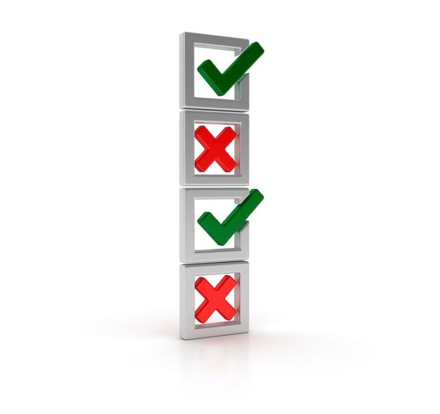 Lista de verificação de renderização com marca de seleção e cruz